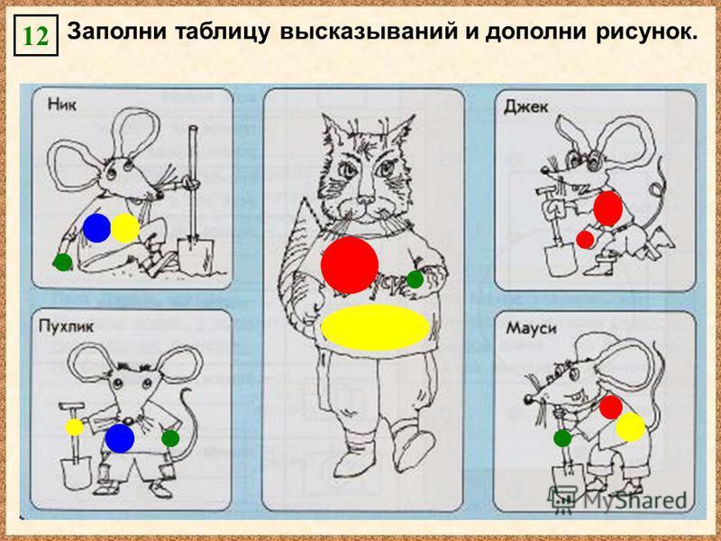 Заполни таблицу высказываний и дополни рисунок. 12