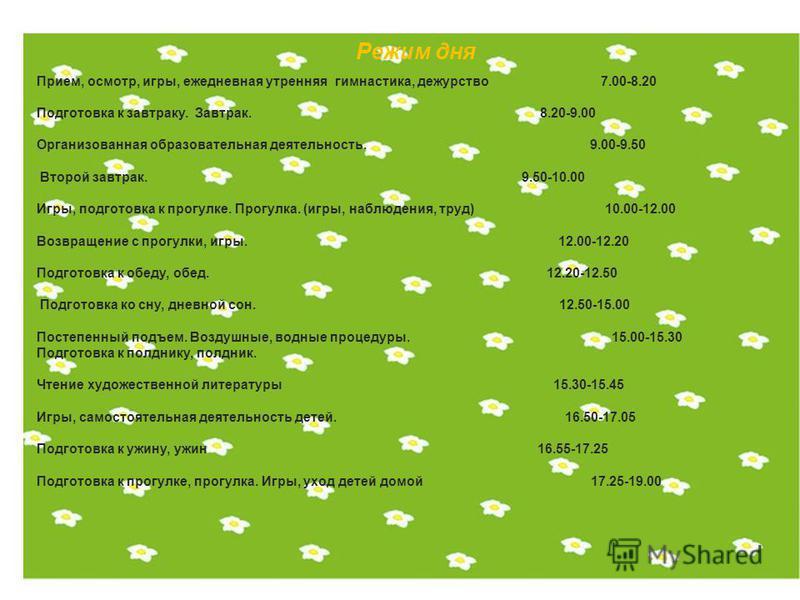 Режим дня Прием, осмотр, игры, ежедневная утренняя гимнастика, дежурство 7.00-8.20 Подготовка к завтраку. Завтрак. 8.20-9.00 Организованная образовательная деятельность. 9.00-9.50 Второй завтрак. 9.50-10.00 Игры, подготовка к прогулке. Прогулка. (игр