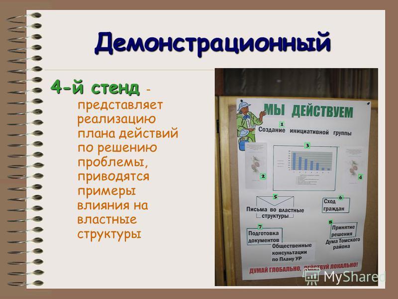Демонстрационный 4-й стенд 4-й стенд - представляет реализацию плана действий по решению проблемы, приводятся примеры влияния на властные структуры