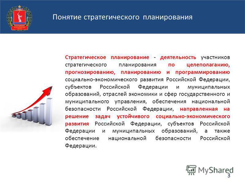 Стратегическое планирование - деятельность участников стратегического планирования по целеполаганию, прогнозированию, планированию и программированию социально-экономического развития Российской Федерации, субъектов Российской Федерации и муниципальн