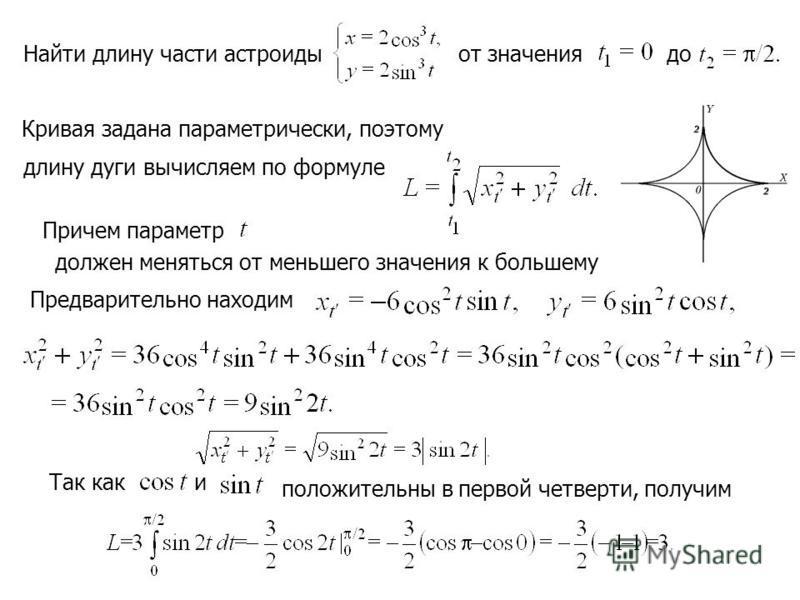 Найти длину части астроиды от значения до длину дуги вычисляем по формуле Кривая задана параметрический, поэтому Причем параметр должен меняться от меньшего значения к большему Предварительно находим Так каки положительны в первой четверти, получим