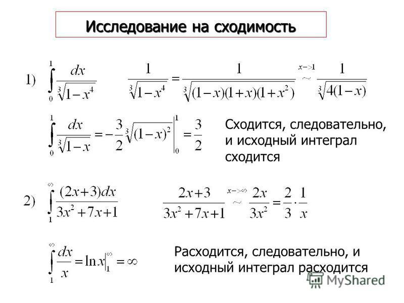 Исследование на сходимость Сходится, следовательно, и исходный интеграл сходится Расходится, следовательно, и исходный интеграл расходится