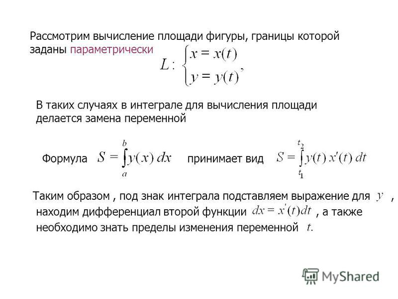 Рассмотрим вычисление площади фигуры, границы которой заданы параметрический В таких случаях в интеграле для вычисления площади делается замена переменной Формула принимает вид Таким образом, под знак интеграла подставляем выражение для, находим дифф