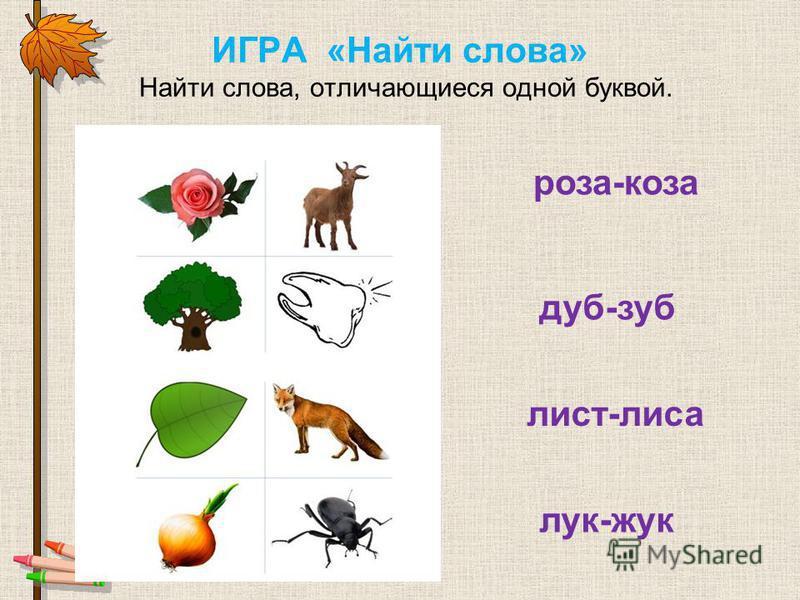 ИГРА «Найти слова» Найти слова, отличающиеся одной буквой. роза-коза дуб-зуб лист-лиса лук-жук