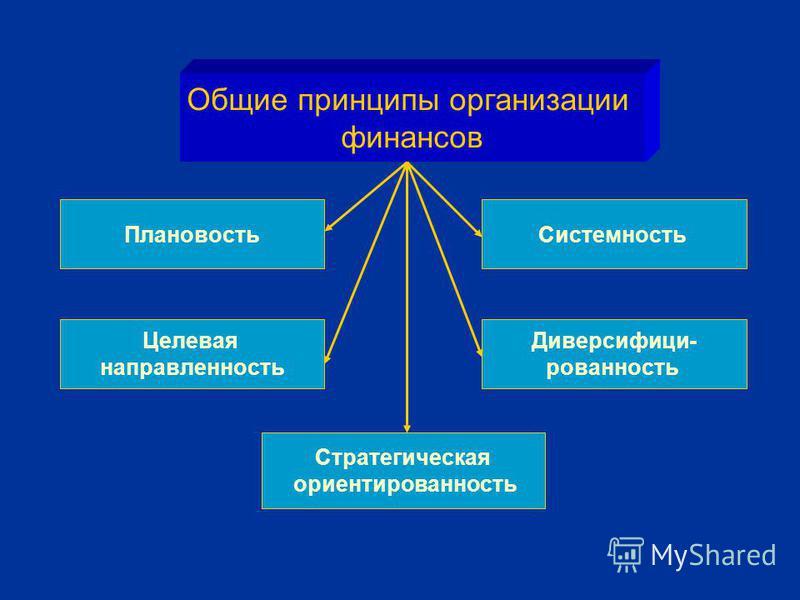 Общие принципы организации финансов Плановость Целевая направленность Стратегическая ориентированность Диверсифици- рованность Системность