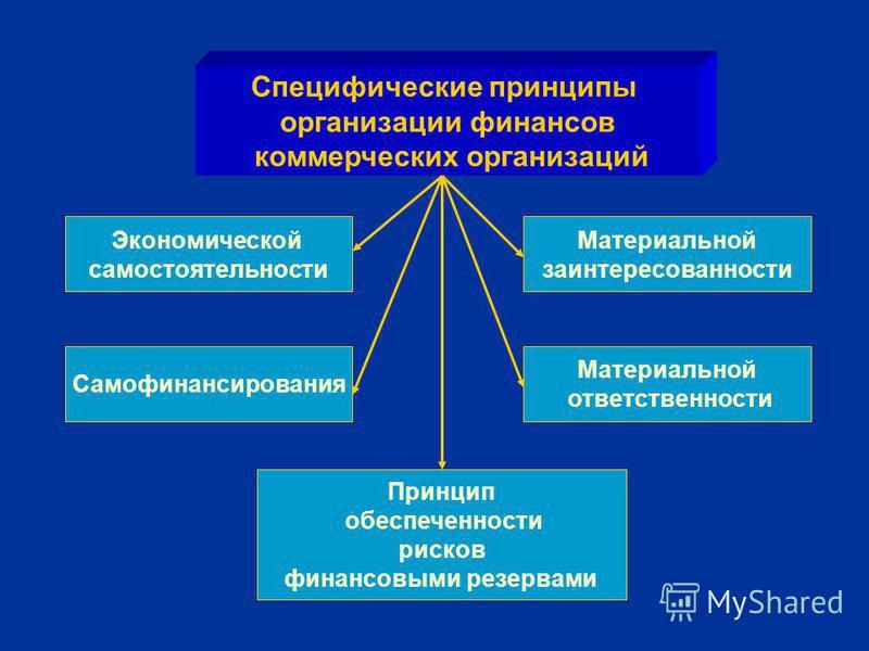 Специфические принципы организации финансов коммерческих организаций Экономической самостоятельности Самофинансирования Принцип обеспеченности рисков финансовыми резервами Материальной ответственности Материальной заинтересованности