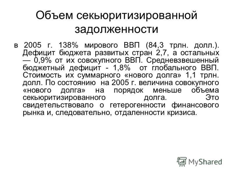 Объем секьюритизированной задолженности в 2005 г. 138% мирового ВВП (84,3 трлн. долл.). Дефицит бюджета развитых стран 2,7, а остальных 0,9% от их совокупного ВВП. Средневзвешенный бюджетный дефицит - 1,8% от глобального ВВП. Стоимость их суммарного