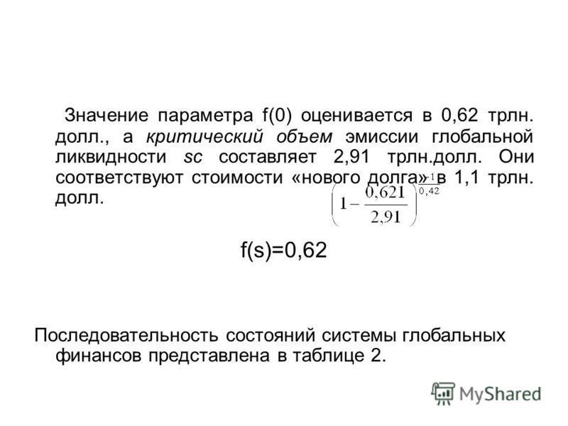 Значение параметра f(0) оценивается в 0,62 трлн. долл., а критический объем эмиссии глобальной ликвидности sc составляет 2,91 трлн.долл. Они соответствуют стоимости «нового долга» в 1,1 трлн. долл. f(s)=0,62 Последовательность состояний системы глоба