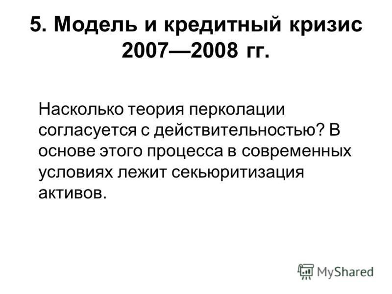 5. Модель и кредитный кризис 20072008 гг. Насколько теория перколяции согласуется с действительностью? В основе этого процесса в современных условиях лежит секьюритизация активов.