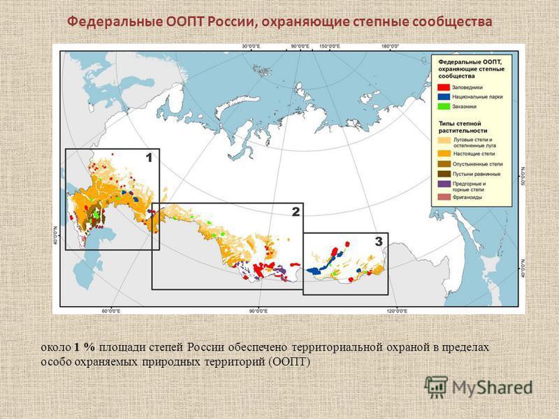 Федеральные ООПТ России, охраняющие степные сообщества около 1 % площади степей России обеспечено территориальной охраной в пределах особо охраняемых природных территорий (ООПТ)