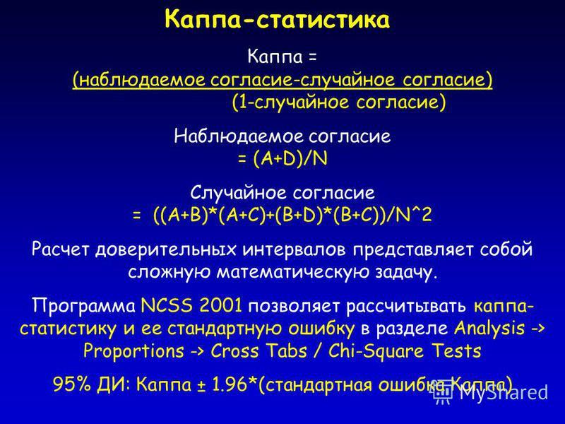 Каппа-статистика Каппа = (наблюдаемое согласие-случайное согласие) (1-случайное согласие) Наблюдаемое согласие = (A+D)/N Случайное согласие = ((A+B)*(A+C)+(B+D)*(B+C))/N^2 Расчет доверительных интервалов представляет собой сложную математическую зада