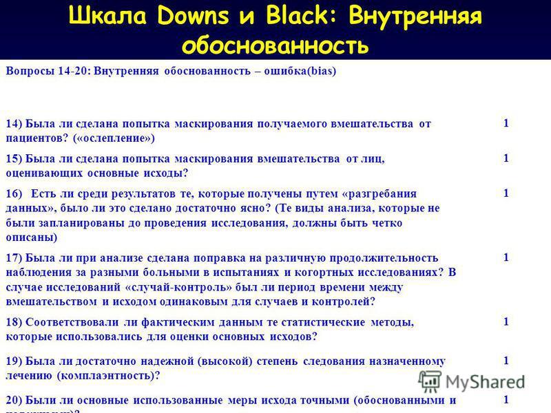 Шкала Downs и Black: Внутренняя обоснованность Вопросы 14-20: Внутренняя обоснованность – ошибка(bias) 14) Была ли сделана попытка маскирования получаемого вмешательства от пациентов? («ослепление») 1 15) Была ли сделана попытка маскирования вмешател