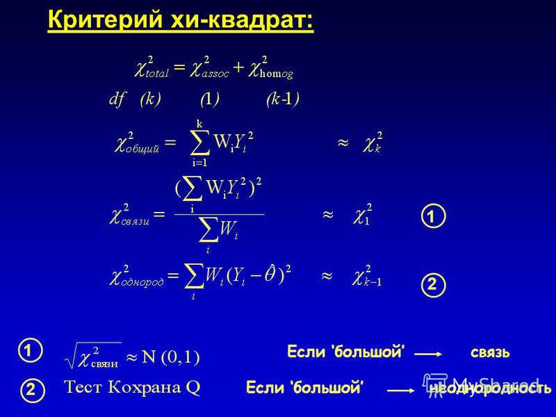 Критерий хи-квадрат: Если большой связь Если большой неоднородность 1 2 1 2