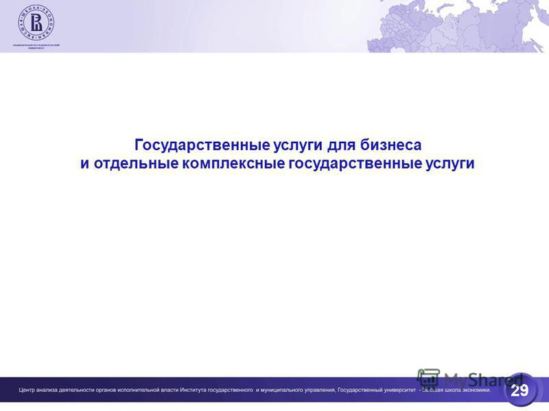 29 Государственные услуги для бизнеса и отдельные комплексные государственные услуги