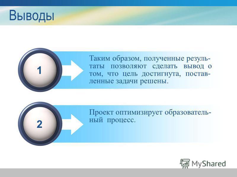 Выводы 1 Таким образом, полученные результаты позволяют сделать вывод о том, что цель достигнута, постав- ленные задачи решены. 2 Проект оптимизирует образовательный процесс.