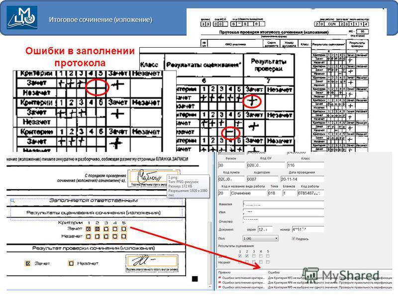 Итоговое сочинение (изложение) Ошибки в заполнении протокола