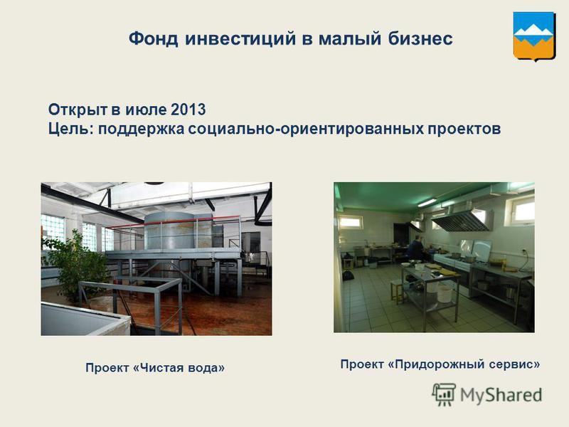 Фонд инвестиций в малый бизнес Открыт в июле 2013 Цель: поддержка социально-ориентированных проектов Проект «Чистая вода» Проект «Придорожный сервис»