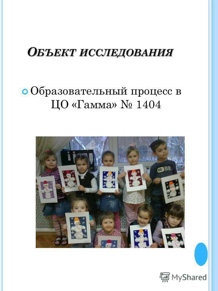 О БЪЕКТ ИССЛЕДОВАНИЯ Образовательный процесс в ЦО «Гамма» 1404