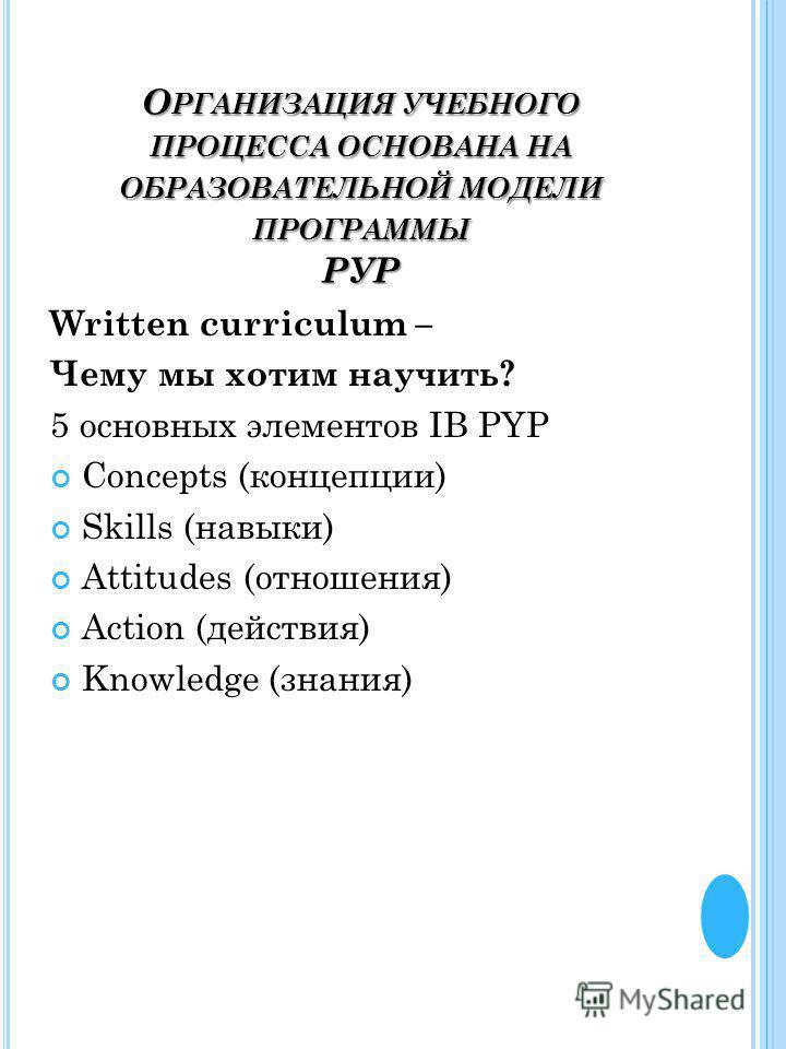 О РГАНИЗАЦИЯ УЧЕБНОГО ПРОЦЕССА ОСНОВАНА НА ОБРАЗОВАТЕЛЬНОЙ МОДЕЛИ ПРОГРАММЫ РУР Written curriculum – Чему мы хотим научить? 5 основных элементов IB PYP Concepts (концепции) Skills (навыки) Attitudes (отношения) Action (действия) Knowledge (знания)