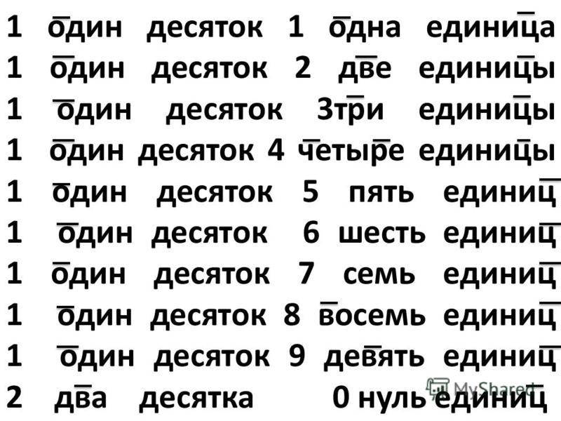 1 один десяток 1 одна единица 1 один десяток 2 две единицы 1 один десяток 3 три единицы 1 один десяток 4 четыре единицы 1 один десяток 5 пять единиц 1 один десяток 6 шесть единиц 1 один десяток 7 семь единиц 1 один десяток 8 восемь единиц 1 один деся