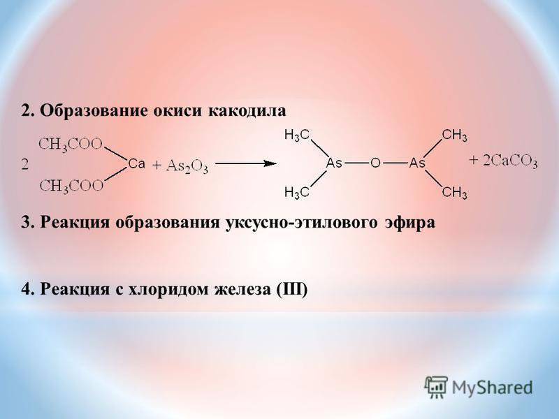 2. Образование окиси какодила 3. Реакция образования уксусно-этилового эфира 4. Реакция с хлоридом железа (III)