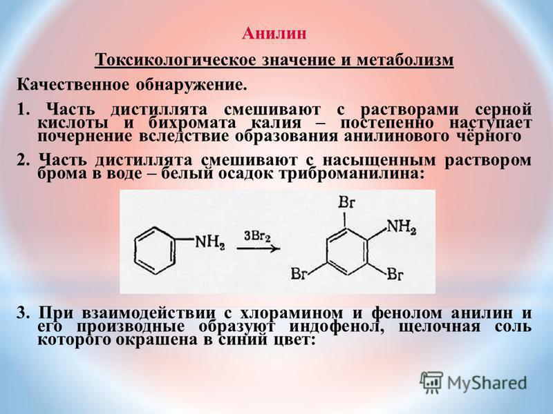 Анилин Токсикологическое значение и метаболизм Качественное обнаружение. 1. Часть дистиллята смешивают с растворами серной кислоты и бихромата калия – постепенно наступает почернение вследствие образования анилинового чёрного 2. Часть дистиллята смеш