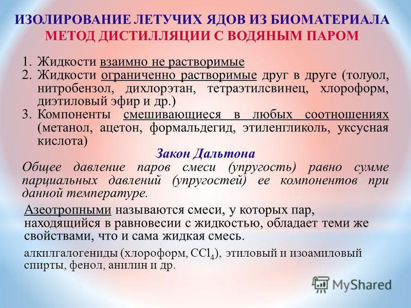 ИЗОЛИРОВАНИЕ ЛЕТУЧИХ ЯДОВ ИЗ БИОМАТЕРИАЛА МЕТОД ДИСТИЛЛЯЦИИ С ВОДЯНЫМ ПАРОМ 1. Жидкости взаимно не растворимые 2. Жидкости ограниченно растворимые друг в друге (толуол, нитробензол, дихлорэтан, тетраэтилсвинец, хлороформ, диэтиловый эфир и др.) 3. Ко