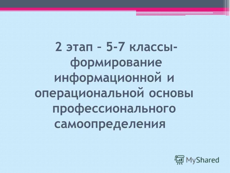 2 этап – 5-7 классы- формирование информационной и операциональной основы профессионального самоопределения