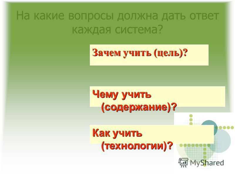 На какие вопросы должна дать ответ каждая система? Зачем учить (цель)? Чему учить (содержание)? Как учить (технологии)?