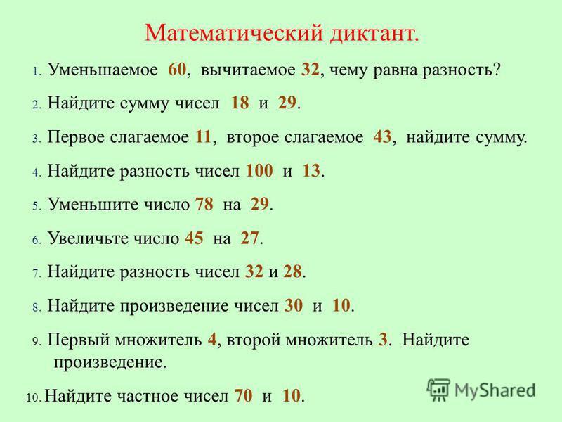 Математический диктант. 1. Уменьшаемое 60, вычитаемое 32, чему равна разность? 2. Найдите сумму чисел 18 и 29. 3. Первое слагаемое 11, второе слагаемое 43, найдите сумму. 4. Найдите разность чисел 100 и 13. 5. Уменьшите число 78 на 29. 6. Увеличьте ч