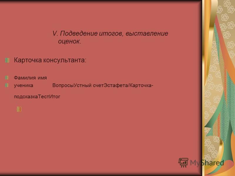 V. Подведение итогов, выставление оценок. Карточка консультанта: Фамилия имя ученика Вопросы Устный счет Эстафета/Карточка- подсказка ТестИтог