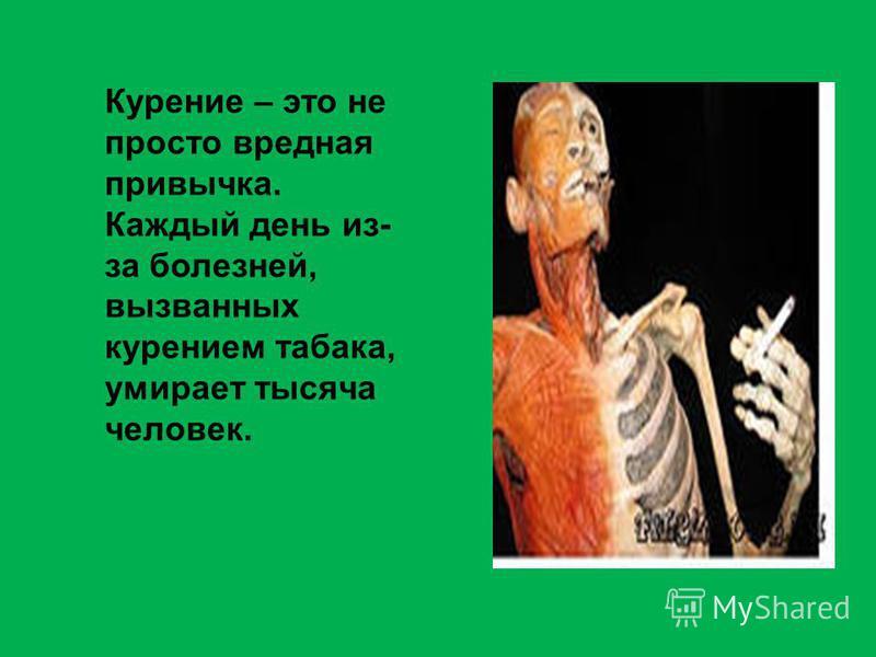 Курение – это не просто вредная привычка. Каждый день из- за болезней, вызванных курением табака, умирает тысяча человек.