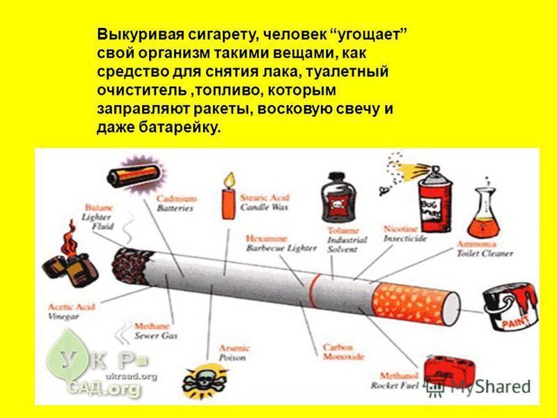 Выкуривая сигарету, человек угощает свой организм такими вещами, как средство для снятия лака, туалетный очиститель,топливо, которым заправляют ракеты, восковую свечу и даже батарейку.