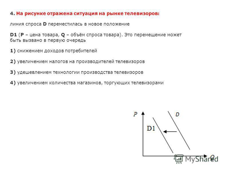 4. На рисунке отражена ситуация на рынке телевизоров: линия спроса D переместилась в новое положение D1 (P – цена товара, Q – объём спроса товара). Это перемещение может быть вызвано в первую очередь 1) снижением доходов потребителей 2) увеличением н