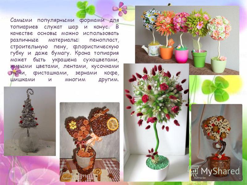 Самыми популярными формами для топиариев служат шар и конус. В качестве основы можно использовать различные материалы: пенопласт, строительную пену, флористическую губку и даже бумагу. Крона топиария может быть украшена сухоцветами, живыми цветами, л