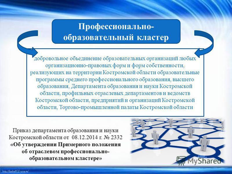 Профессионально- образовательный кластер добровольное объединение образовательных организаций любых организационно-правовых форм и форм собственности, реализующих на территории Костромской области образовательные программы среднего профессионального