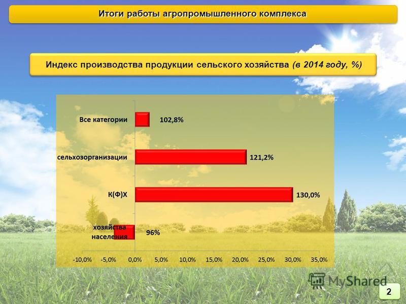 Индекс производства продукции сельского хозяйства (в 2014 году, %) Итоги работы агропромышленного комплекса