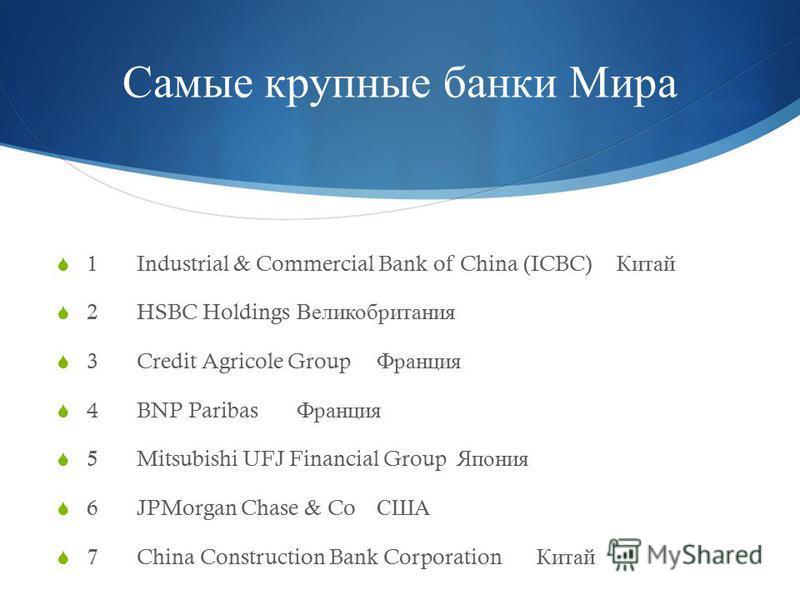 Самые крупные банки Мира 1Industrial & Commercial Bank of China (ICBC) Китай 2HSBC Holdings Великобритания 3Credit Agricole Group Франция 4BNP Paribas Франция 5Mitsubishi UFJ Financial Group Япония 6JPMorgan Chase & Co США 7China Construction Bank Co