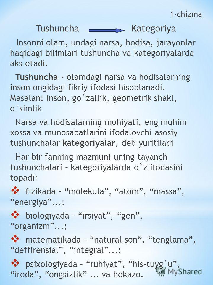 1-chizma Tushuncha Kategoriya Insonni olam, undagi narsa, hodisa, jarayonlar haqidagi bilimlari tushuncha va kategoriyalarda aks etadi. Tushuncha - olamdagi narsa va hodisalarning inson ongidagi fikriy ifodasi hisoblanadi. Masalan: inson, go`zallik,
