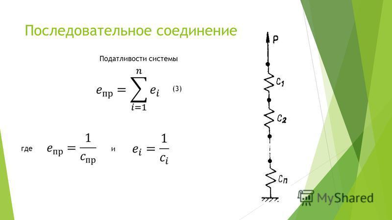 Последовательное соединение Податливости системы где и (3)