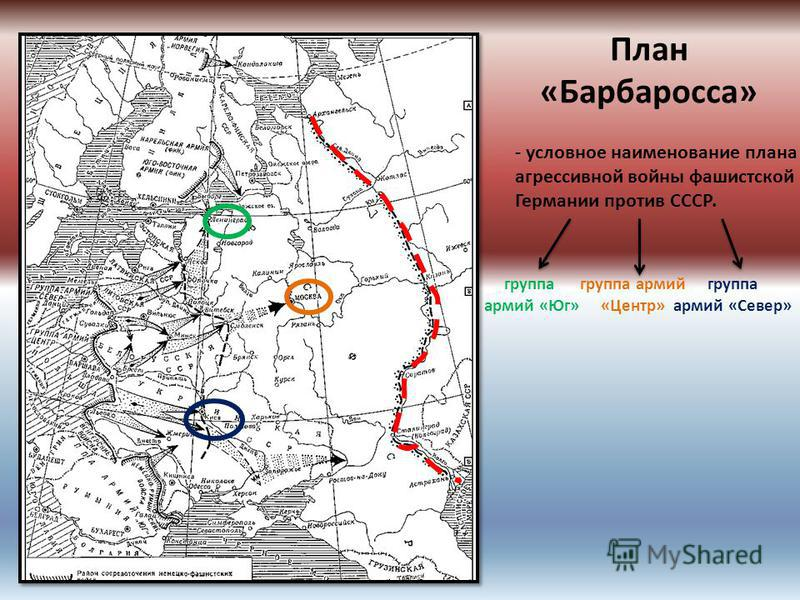 План «Барбаросса» - условное наименование плана агрессивной войны фашистской Германии против СССР. группа армий «Юг» группа армий «Центр» группа армий «Север»