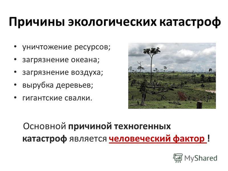 Причины экологических катастроф уничтожение ресурсов; загрязнение океана; загрязнение воздуха; вырубка деревьев; гигантские свалки. Основной причиной техногенных катастроф является человеческий фактор !