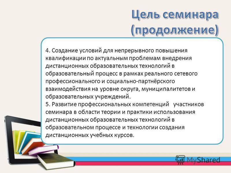 4. Создание условий для непрерывного повышения квалификации по актуальным проблемам внедрения дистанционных образовательных технологий в образовательный процесс в рамках реального сетевого профессионального и социально-партнёрского взаимодействия на