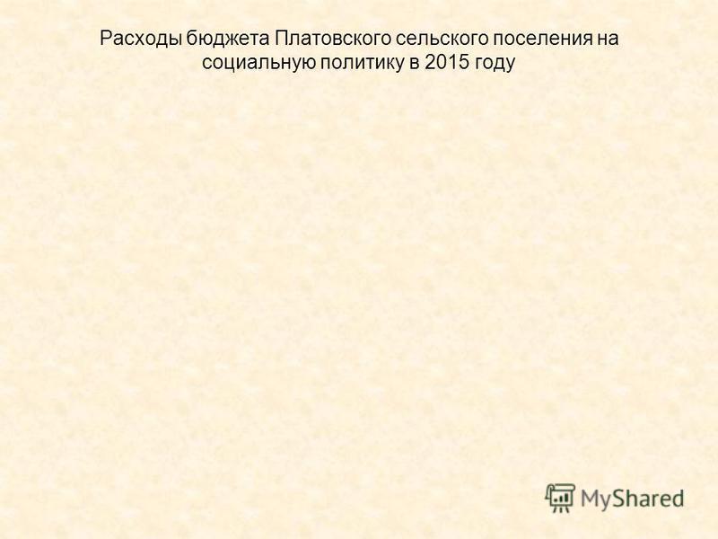Расходы бюджета Платовского сельского поселения на социальную политику в 2015 году