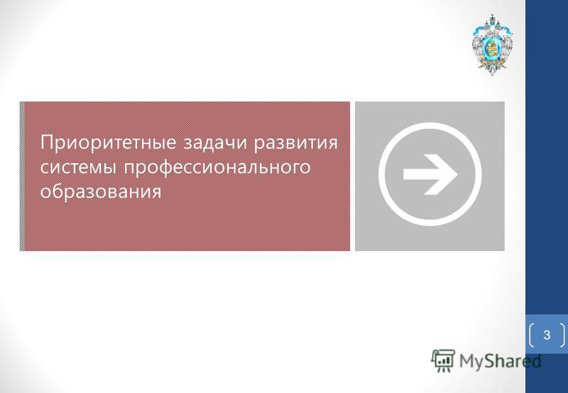3 Приоритетные задачи развития системы профессионального образования