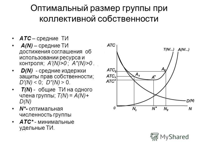 Оптимальный размер группы при коллективной собственности АТС – средние ТИ A(N) – средние ТИ достижения соглашения об использовании ресурса и контроля; A'(N)>0 ; A''(N)>0. D(N) - средние издержки защиты прав собственности; D'(N) 0. T(N) - общие ТИ на