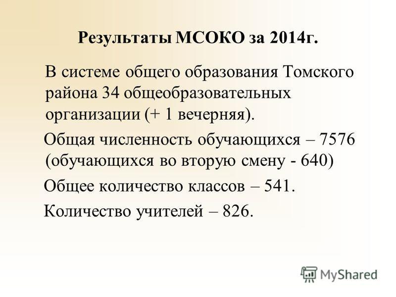 Результаты МСОКО за 2014 г. В системе общего образования Томского района 34 общеобразовательных организации (+ 1 вечерняя). Общая численность обучающихся – 7576 (обучающихся во вторую смену - 640) Общее количество классов – 541. Количество учителей –
