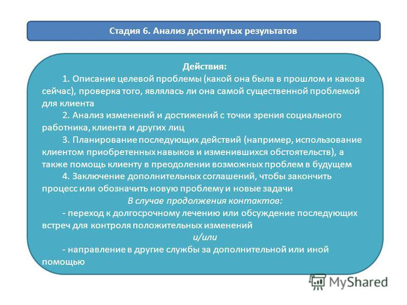 Стадия 6. Анализ достигнутых результатов Действия: 1. Описание целевой проблемы (какой она была в прошлом и какова сейчас), проверка того, являлась ли она самой существенной проблемой для клиента 2. Анализ изменений и достижений с точки зрения социал