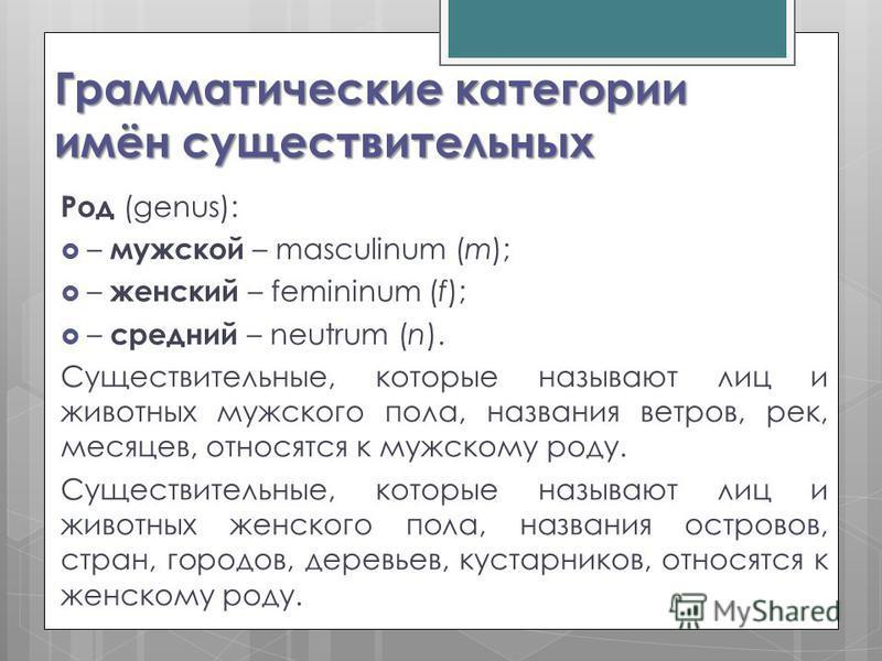 Грамматические категории имён существительных Род (genus): – мужской – masculinum (m); – женский – femininum (f); – средний – neutrum (n). Существительные, которые называют лиц и животных мужского пола, названия ветров, рек, месяцев, относятся к мужс