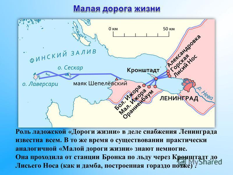 Роль ладожской «Дороги жизни» в деле снабжения Ленинграда известна всем. В то же время о существовании практически аналогичной «Малой дороги жизни» знают немногие. Она проходила от станции Бронка по льду через Кронштадт до Лисьего Носа (как и дамба,